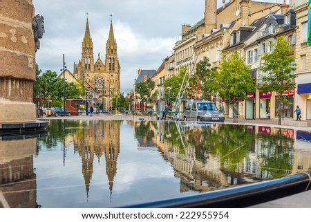 MOULINS, FRANCE - AUGUST 27,2014 - In the streets of Moulins. Moulins is located on the banks of the Allier River.