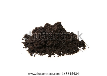Mound of organic earth isolated on white background - stock photo