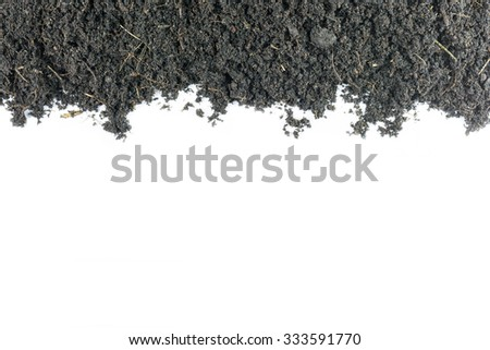 Mound of soil for growing plants mixture rich in minerals isolated on white background. - stock photo