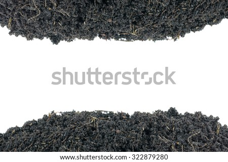 Mound of soil for growing plants mixture rich in minerals isolated on white background. Natural soil texture background. - stock photo
