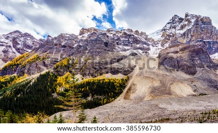 Mount Aberdeen and Fairview Mountain from the Hiking Trail to the Plain of Six Glaciers in Banff National Park in the Canadian Rocky Mountains - stock photo