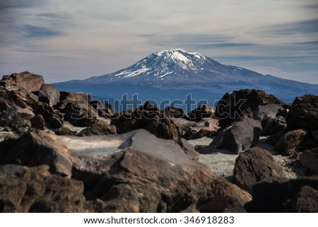 Mount Adams from the boulder fields of Mount Saint Helens