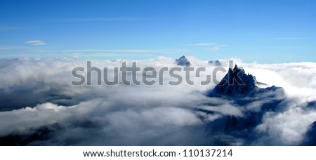 Mount Aiguille Du Midi, French Alps, France. This picture was taken from the Mont Blanc. - stock photo