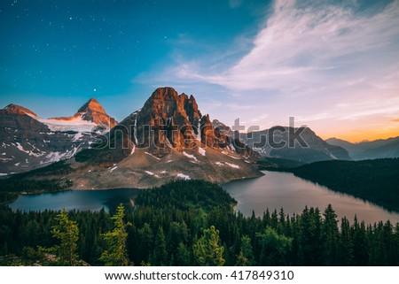 Mount Assiniboine at sunset - stock photo