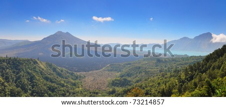 Mount Batur-One of the famous volcanos in Indonesia - stock photo