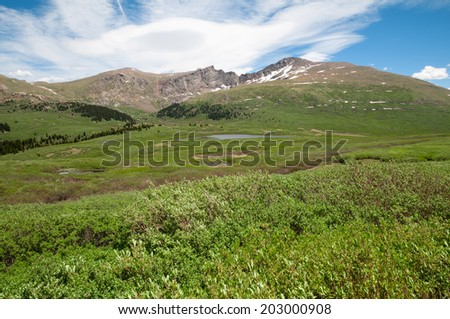 Mount Bierstadt and the Sawtooth in Summit County Colorado - stock photo