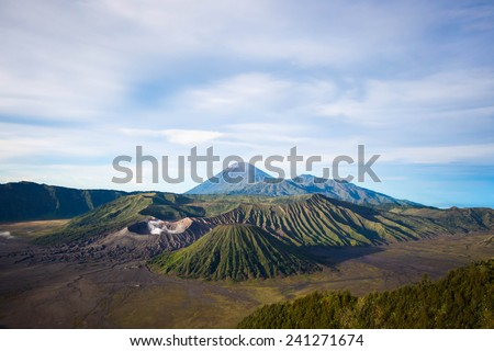 Mount Bromo, Batok and Gunung Semeru in Java, Indonesia.  - stock photo