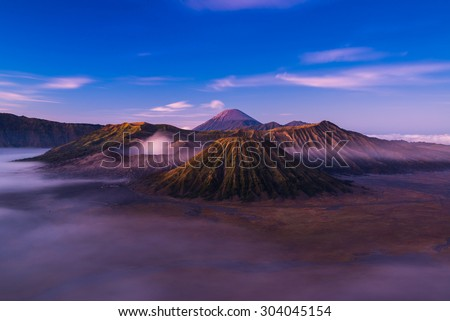 Mount Bromo is an active volcano located in East Java, Indonesia. - stock photo