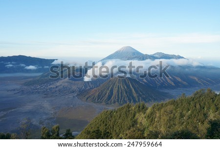 Mount Bromo, Java Indonesia with clouds - stock photo