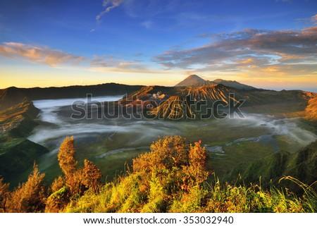Mount Bromo Sunrise in East Java Indonesia - stock photo