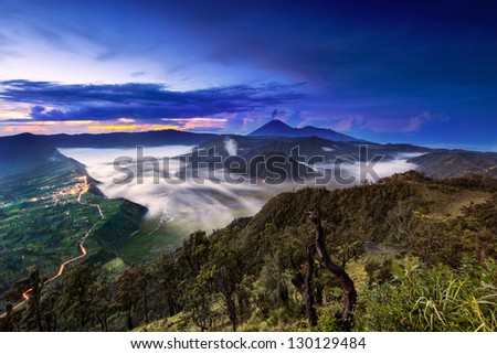 Mount Bromo Wide angle view, Java, Indonesia - stock photo