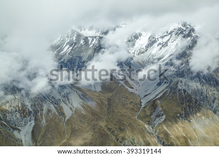 Mount Cook and the Southern Alps from above