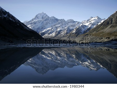 Mount Cook in New Zealand is a beutiful place to visit. - stock photo