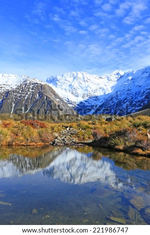 Mount Cook in the south Island, New Zealand.