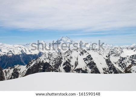 Mount Cook in the Southern Alps, West Coast, South Island, New Zealand. - stock photo
