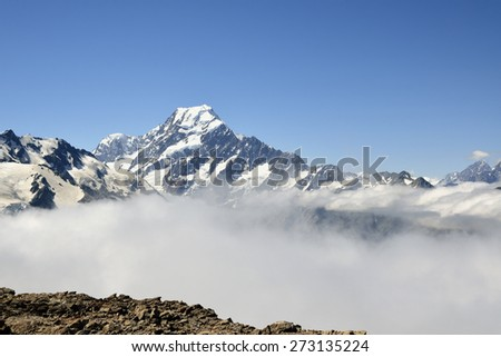 Mount Cook is highest peak in Southern Alps, New Zealand. - stock photo