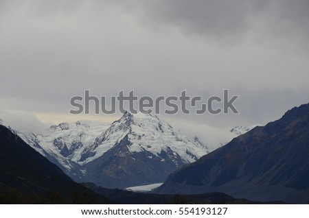 Mount Cook Mountain New Zealand covered in snow in Autumn.