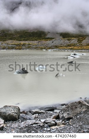 Mount Cook National Park in New Zealand. Hooker Valley - glacial lake.