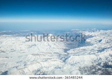 Mount Damavand, Iran, - Aerial view