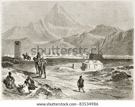 Mount Damavand old view, Iran. Created by Laurens, published on Le Tour du Monde, Paris, 1860