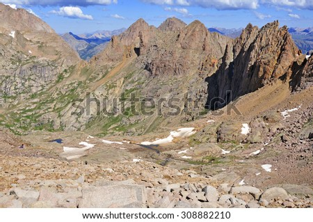 Mount Eolus, Chicago Basin in the San Juan Range, Rocky Mountains, Colorado - stock photo