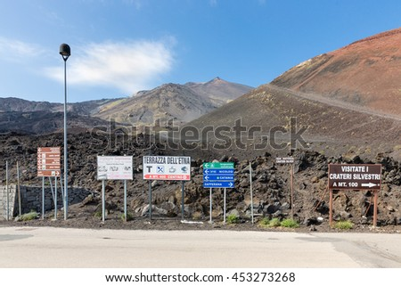 MOUNT ETNA,  ITALY - MAY 23:  Notice boards on Mount Etna on May 23, 2016 at the island Sicily, Italy