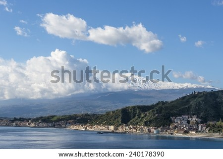 Mount Etna. Taormina. Province of Messina. Sicily, Italy. - stock photo