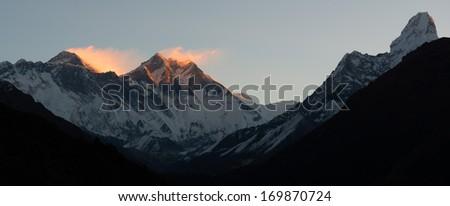 Mount Everest and Lhotse during Sunrise, Himalaya, Nepal - stock photo