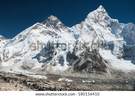 Mount Everest and Nuptse viewed from Kala Patthar, Nepal. - stock photo