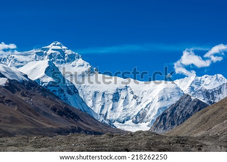 Mount Everest from Tibetan side during sunset. - stock photo