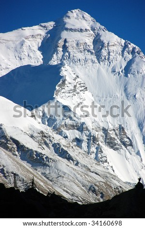 Mount Everest from Tibetan side during sunset - stock photo