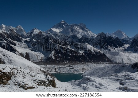 Mount Everest, Lhotse, Nuptse, Makalu, Gokyo Lake seen from Renjo La Pass. Himalaya, Nepal. Great Himalaya Trail