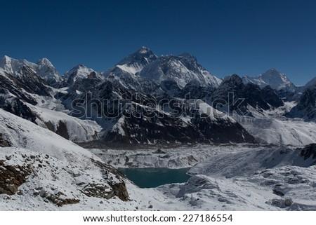 Mount Everest, Lhotse, Nuptse, Makalu, Gokyo Lake seen from Renjo La Pass. Himalaya, Nepal. Great Himalaya Trail - stock photo