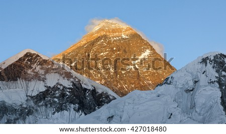 Mount Everest (8848 m) and peak at sunset (view from Kala Patthar) - Nepal, Himalayas - stock photo