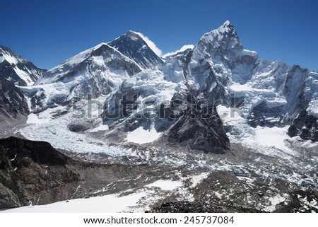 Mount Everest, Mt Nuptse and the Khumbu Icefall seen from Kala Patthar, Sagarmatha National Park, Khumbu Region, Nepal.  - stock photo
