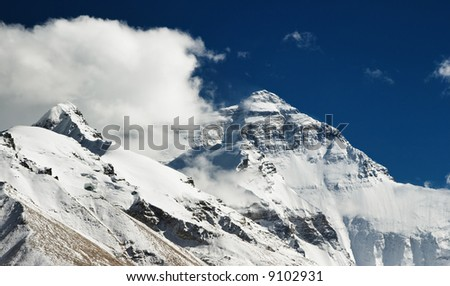 Mount Everest North face view from Tibet - stock photo