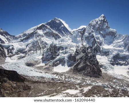 Mount Everest, Nuptse and the Khumbu Icefall seen from Kala Patthar in Nepal. - stock photo