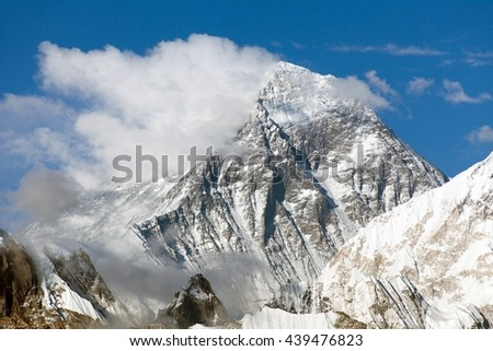 Mount Everest, panoramic view of Everest with beautiful clouds on the top - Everest area, Sagarmatha national park, Khumbu valley, Nepal