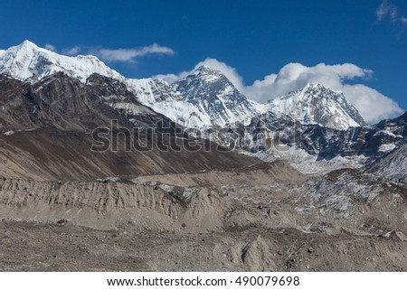 Mount Everest Peak (Sagarmatha, Chomolungma) - the top of the world (8848 m). View from Gokyo Ri of the mount Everest, and surrounding Himalayan mountains, Nepal. Sagarmatha National Park.