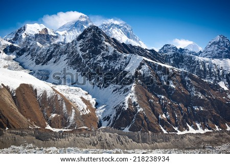 Mount Everest (Sagarmatha, Chomolungma) - the world's highest mountain (8,848 m.). View from Gokyo Ri (5,360m.), Himalayas, Solukhumbu District (Sagarmatha National Park), Nepal - stock photo