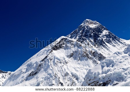 Mount Everest Summit in Himalaya Mountains, Nepal - stock photo