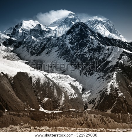 Mount Everest. View from Gokyo Ri (5,360m.), Solukhumbu District (Sagarmatha National Park), Nepal - stock photo