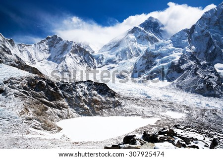 Mount Everest view in Sagarmatha National Park in the Nepal Himalaya. Mount Everest, also known in Nepal as Sagarmatha and in Tibet as Chomolungma, is Earth's highest mountain. Its peak is 8,848 m. - stock photo