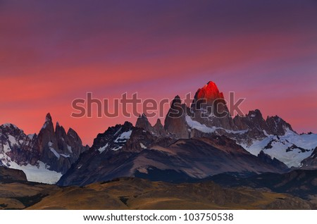 Mount Fitz Roy, alpenglow, first rays of sunrise. Los Glaciares National Park, Patagonia, Argentina - stock photo