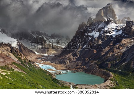 Mount Fitz Roy and laguna Torre, Los Glaciares National Park, Patagonia, Argentina - stock photo