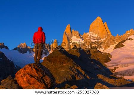 Mount Fitz Roy  in Los Glaciares National Park, Argentina - stock photo