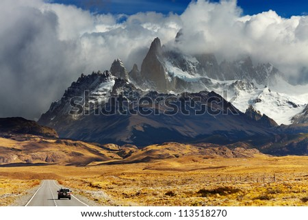 Mount Fitz Roy in the clouds, road to Los Glaciares National Park, Patagonia, Argentina - stock photo