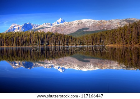 Mount Fryatt Reflection on Leech Lake Reflection, Icefield Parkway, Jasper, Canadian Rockies