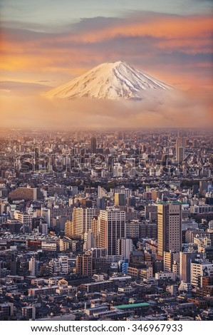 Mount Fuji and Japan cityscape in twilight