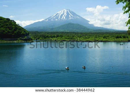 Mount Fuji and lake in spring - stock photo